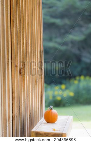 Small Pumpkin Sitting On A Simple Wooden Bench On The Porch Of A Wooden Dwelling