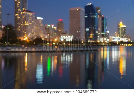 City blurred boke light reflection night view abstract background