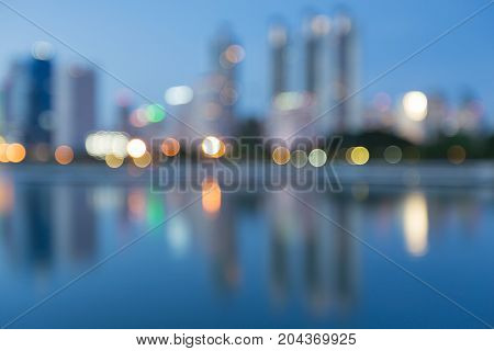 Blurred bokeh light city downtown abstract background