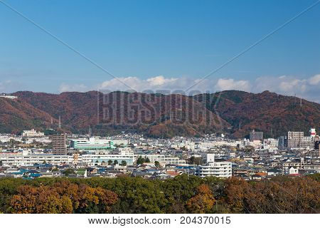 Osaka city downtown in mountain autumn seasion Japan