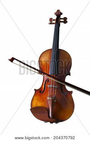 Beautiful vintage violin isolated on white background, clipping path