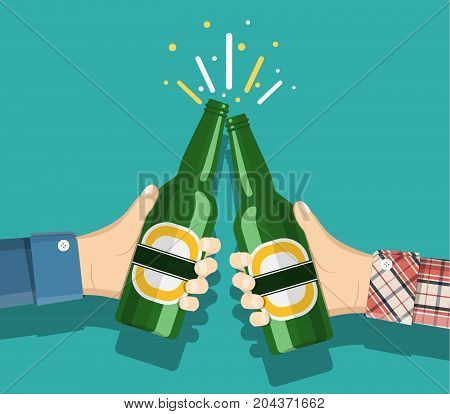 Beer party. Two mans holding in hands the beer bottles. Toast. Drinking alcoholic beverages. vector illustration in flat style