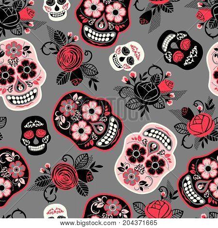 Dia de los muertos. Day of The Dead. Seamless pattern. Vector template.