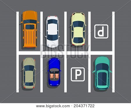 City parking lot with different cars. Shortage parking spaces. Parking zone top view with various vehicles. Vector illustration in flat style