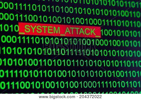 Words System attack in binary code green on a black background