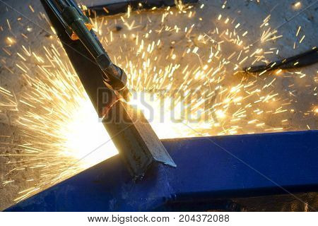 Cutting steel with gas torch - closeup