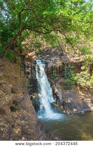 Arvalem Waterfall In March. Goa. India
