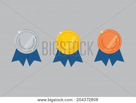 Flat Medal Set.  Gold medal, silver medal, bronze medal
