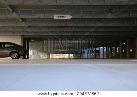 MAGDEBURG, GERMANY - September 15, 2017: Tristesse in an empty car park in the city center of Magdeburg.