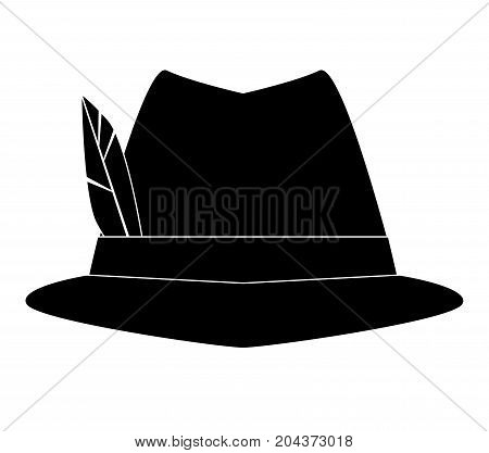 Logo German Alpine Octoberfest hat with feathers. Hunter hat with feather. Traditional Bavarian hunting hat with feather. Octoberfest symbol. vector illustration.
