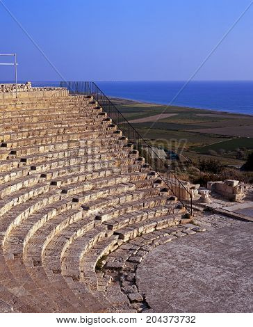 Elevated view of the Roman Theatre at Kourion (Near Limassol) Cyprus