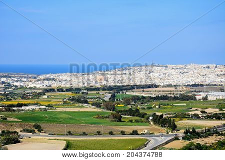 View looking towards Mosta from the Citadel Mdina Malta Europe.