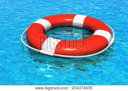Creative abstract water travel security concept: 3D render illustration of the red lifesaver belt in blue water with reflection effect