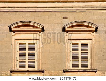 Traditional windows in a Maltese building Mdina Malta Europe.