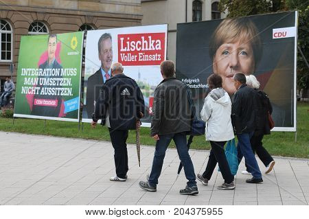 MAGDEBURG, GERMANY - September 15, 2017: an election poster showing Cem