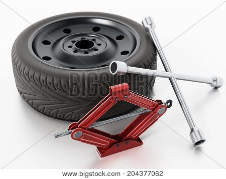 Spare tyre car jack and wheel wrench isolated on white background. 3D illustration.
