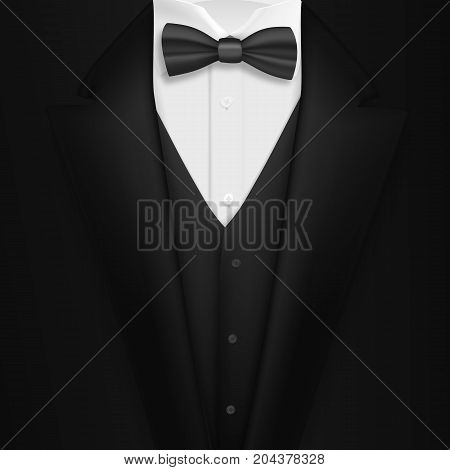 Illustration of Vector Realistic Black Suit. Photorealistic 3D Mens Elegant Tuxedo Suit with Bow Tie