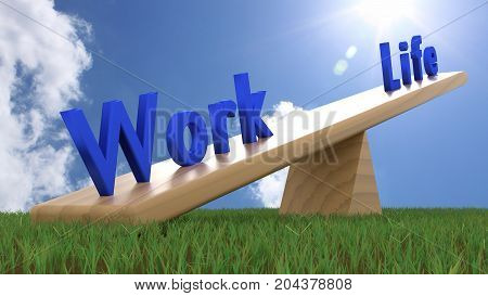 The blue words life and work on a seesaw with work being heavier in the front work-life balance concept 3D illustration