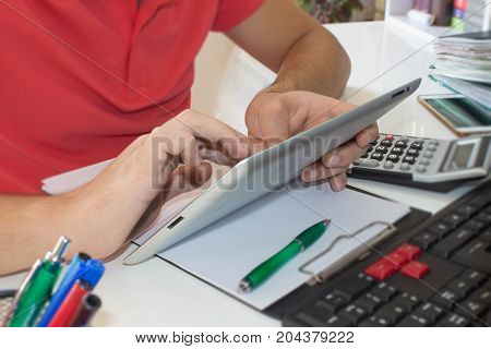 The calculators ipad business owners accounting and technology business computer ipad calculator and documents in the office