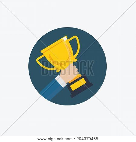 Winner Trophy Award.  Male Hand Holding Golden Trophy Cup