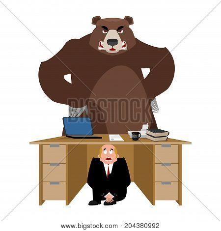 Businessman Scared Under Table Of Bear. Frightened Business Man Under Work Board. Wild Animal. Boss