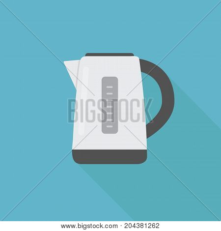 Electric Kettle Illustration with Long Shadow. Flat Design Of Kettle Illustration
