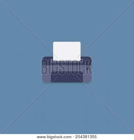 Flat Design of Blue Printer with Paper