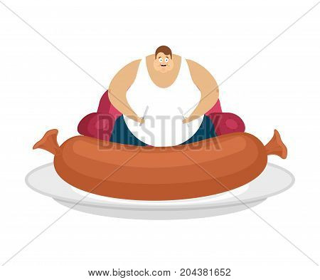 Fat Guy Is Sitting On Chair And Sausage. Glutton Thick Man And Food. Fatso Vector Illustration