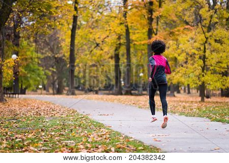 Fitness woman jogging, rear view. Workout wellness concept.
