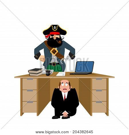 Businessman Scared Under Table Of Pirate.  To Hide From Robbery. Frightened Business Man Under Work