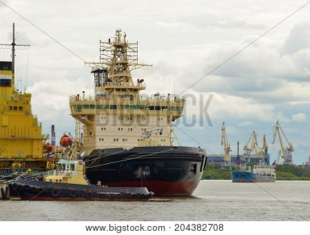 Icebreaker is a big and powerful ship.Its purpose is to break up thick ice.