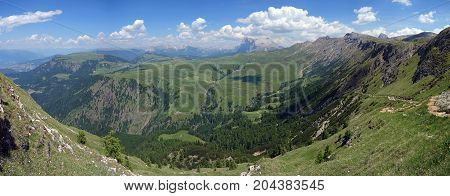 Seiser Alm, the largest high altitude Alpine meadow in Europe, South Tyrol province of Italy, Dolomites.