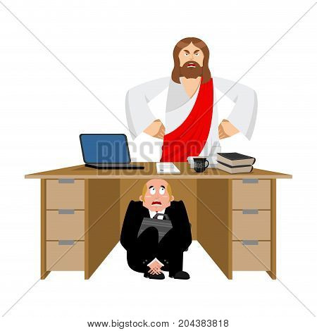 Businessman Scared Under Table Of Jesus Christ. Frightened Business Man Under Work Board. Atheist. B
