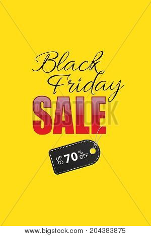 Black Friday Sale promotion template. Black Friday Sale text with black discount tag on yellow background. Vector illustration
