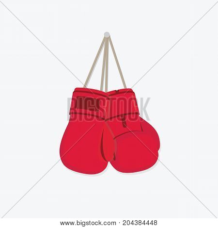 Hanging Boxing Glove Illustration. Flat Design of Red Boxing Glove