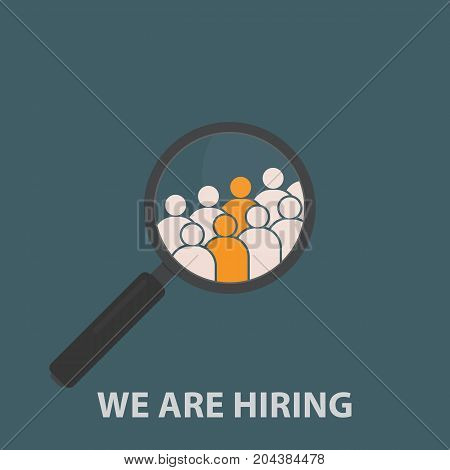 Magnifying Glass with Group Of People Icon. HR job seeking concepts. Vector Illustration