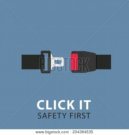 Safety Belt Illustration. Flat Design of Seat Belt Illustration