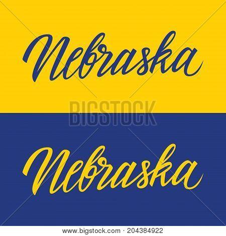Handwritten U.S. state name Nebraska. Calligraphic element for your design. Vector illustration.