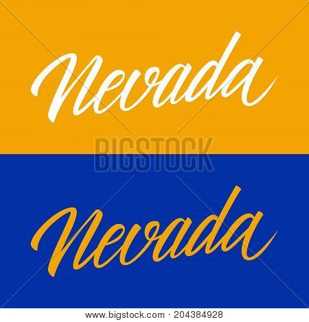 Handwritten U.S. state name Nevada. Calligraphic element for your design. Vector illustration.