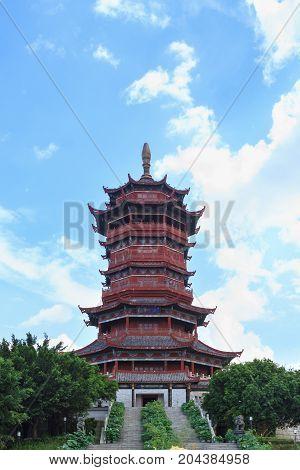 Xiamen, China - Jul 12, 2014: Xinglin Pavilion, Tower
