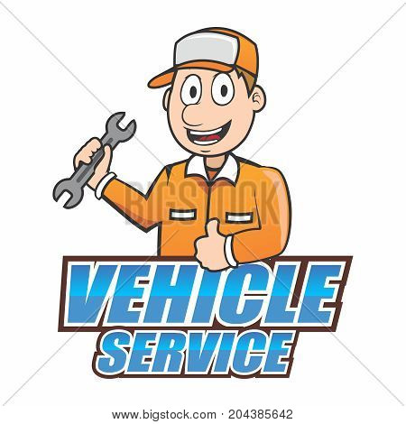 Vector Cartoon Mascot of Automotive Technician Carrying a Wrench