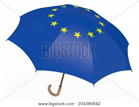 Umbrella With Flag Of Europe Isolated On White