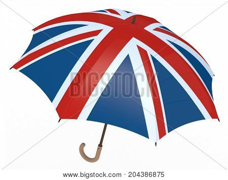 Umbrella With Flag Of United Kingdom Isolated On White