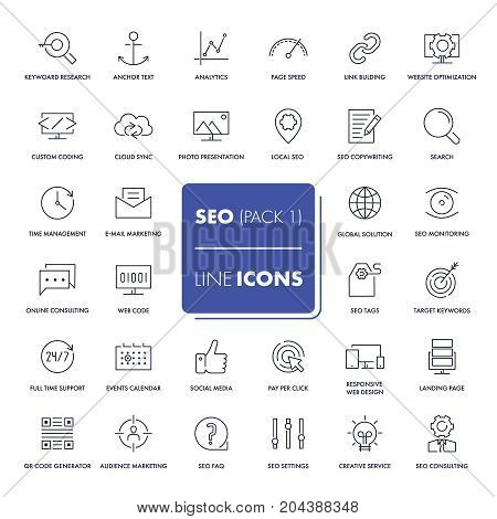 Line icons set. SEO pack. Vector illustration.