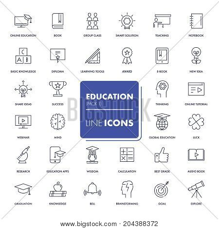 Line icons set. Education pack. Vector illustration.