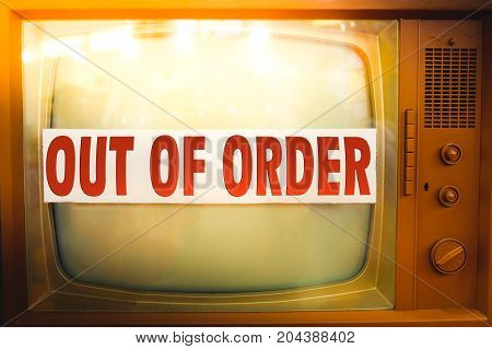 out of order television maintenance old tv label vintage obsolete device