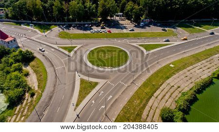 Aerial view of the road junction. Aerial view.