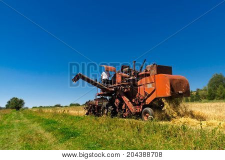 Old red combine harvester working in a wheat field