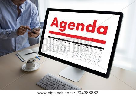 Agenda Activity On Conputer Business Man Making Agenda Information Calendar Events And Meeting Organ
