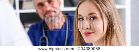 Satisfied Happy Beautiful Smiling Female With Doctor